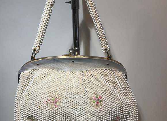 White Beaded Flower Bag