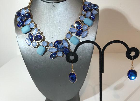 3pc Blue Crystal Necklace set