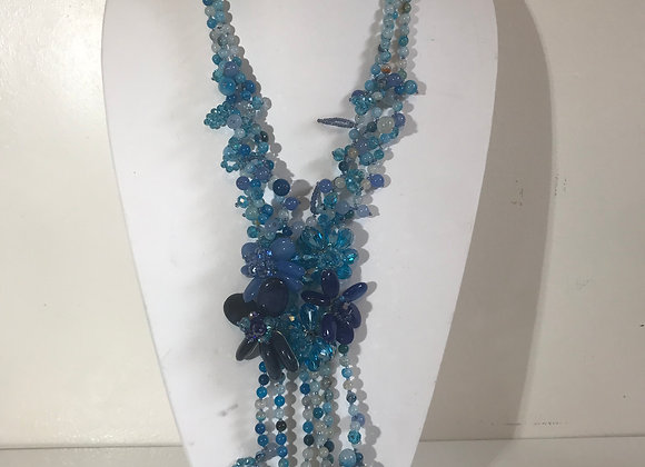 3 Strand Blue glass bead necklace