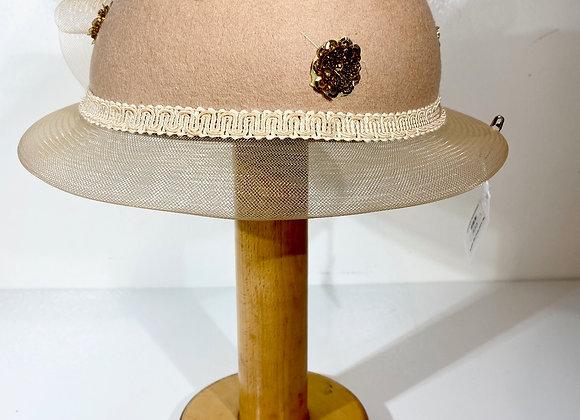 Tan wool sequin Cap Hat