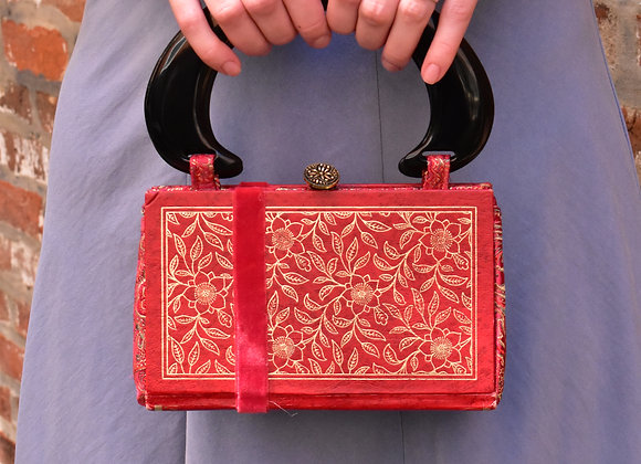 Handmade Red Fabric Book Purse