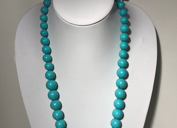 Faux Turquoise Graduated bead necklace