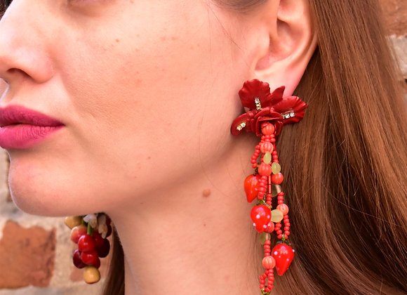 Red Orchid glass bead clip earrings