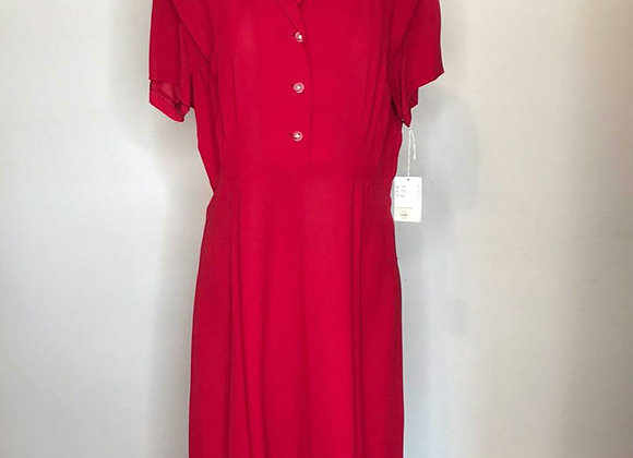 1950s Young Size Red Crepe Dress