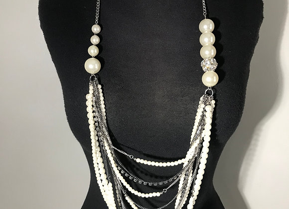 Crystal Pearl Chain Necklace
