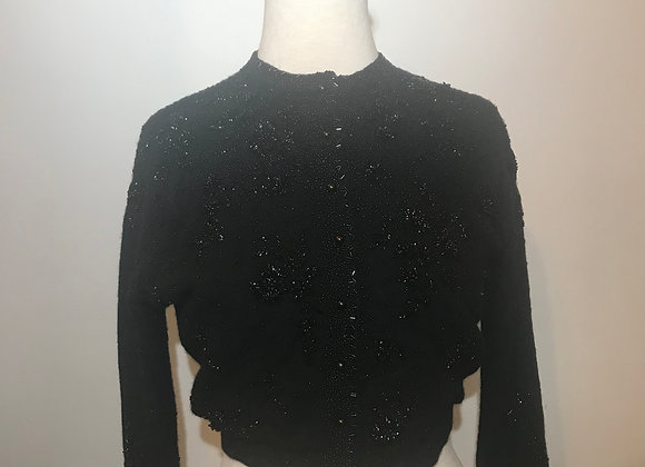Black Angora Wool Cardigan