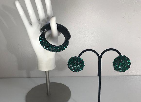 3pc Emerald Crystal Bakelite Set