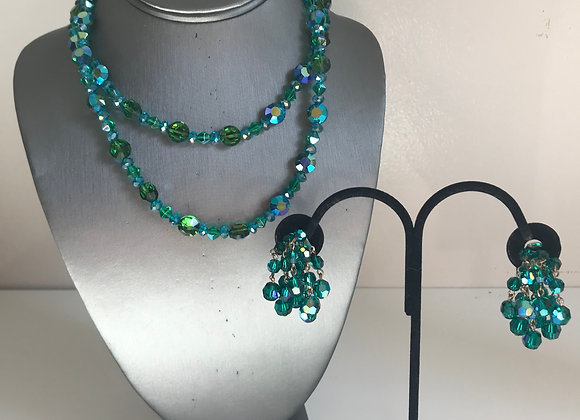 3pc Green/AB Necklace Set