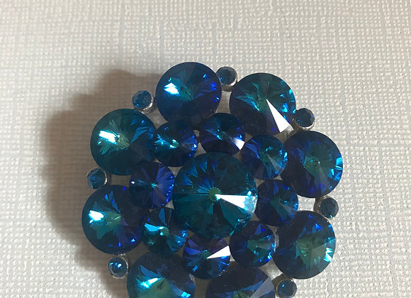Blue Crystal Cluster Circle Pin