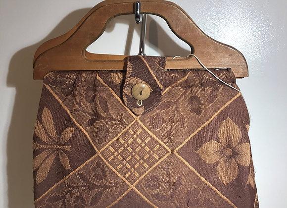 1940-50 Barkcloth Floral Handbag