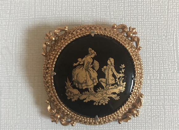 Florenza black glass pin