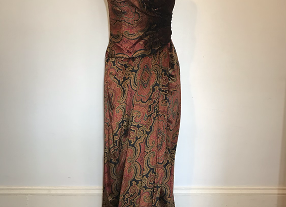 Velvet paisley strapless dress