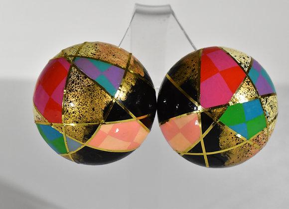 Geometric 1/2 Dome Pierced Earrings