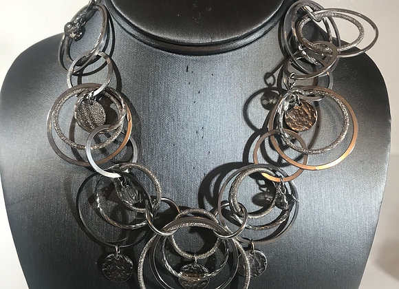 Silvertone circle disk necklace