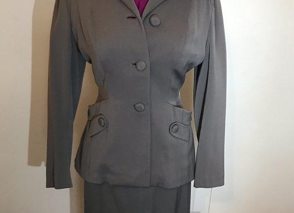 1940's grey gabardine wool 2 pieces suit