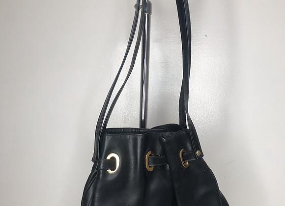 Designer black bucket purse