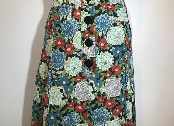 Designer blue/green floral skirt