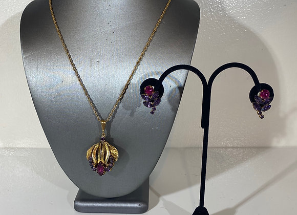 3pc purple tulip necklace & earrings Set