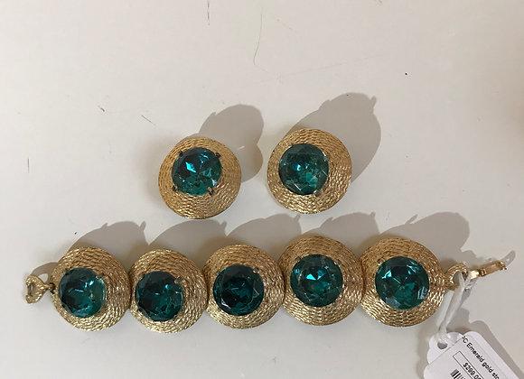 Regency Gold Textured Bracelet & Pin Set