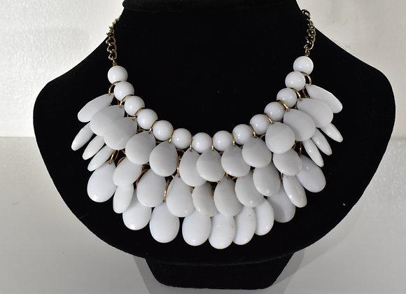 White glass dangle necklace