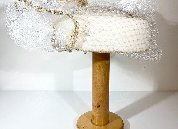 Cream netting hat