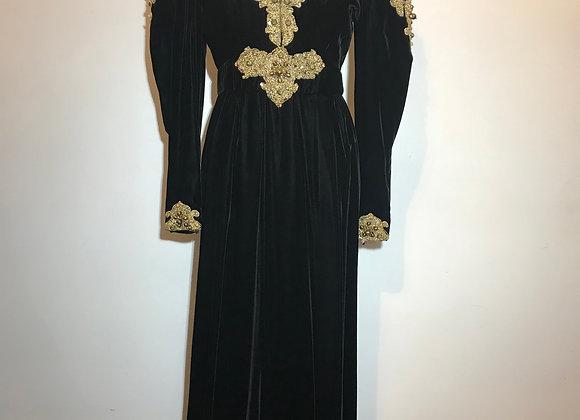 Gold & Blk Velvet Gown