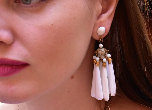 1950s white dangle clip earrings