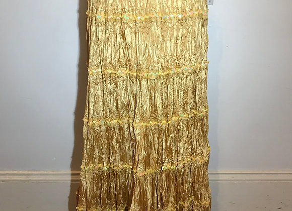 Yellow Sequin Tiered  Crinkle Skirt