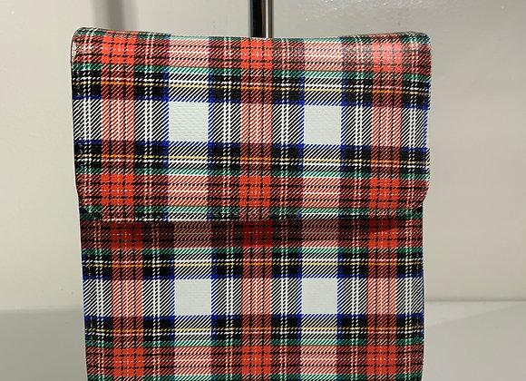 Plaid faux leather crossbody purse