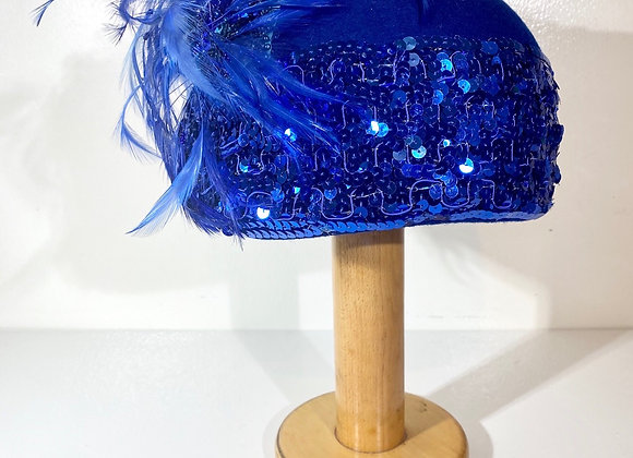 Blue wool sequin hat