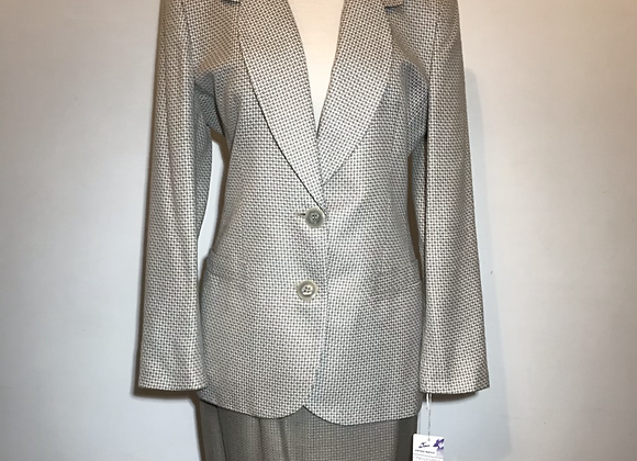 Christian Dior tan&white wool 2 pieces suit jacket&skirt