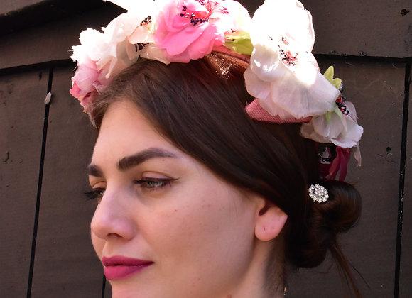 1950s blush pink floral hat
