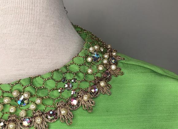 Bright green silk dress