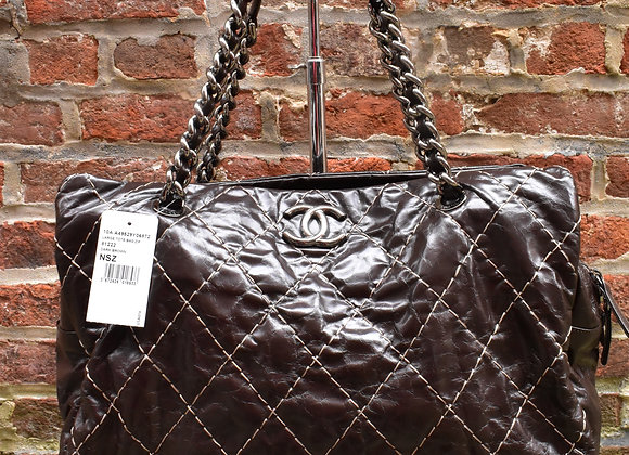Chanel brown quilted leather purse