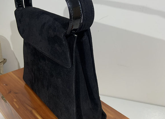 Designer black suede box purse