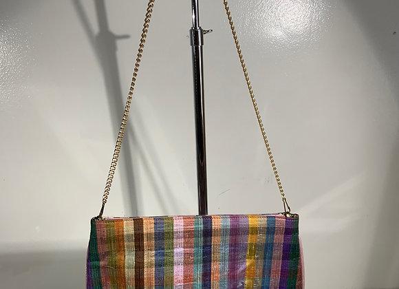 Madras plaid silk hinge clutch