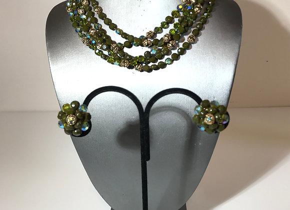 3pc Vogue Green AB bead necklace set
