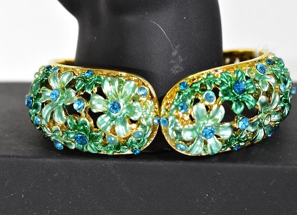 Green Crystal Hinge Bracelet