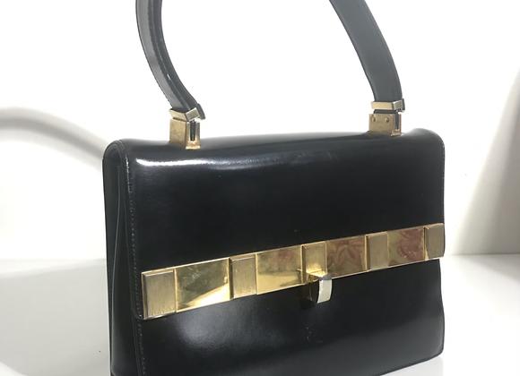 Koret black leather box handbag gold tone detail