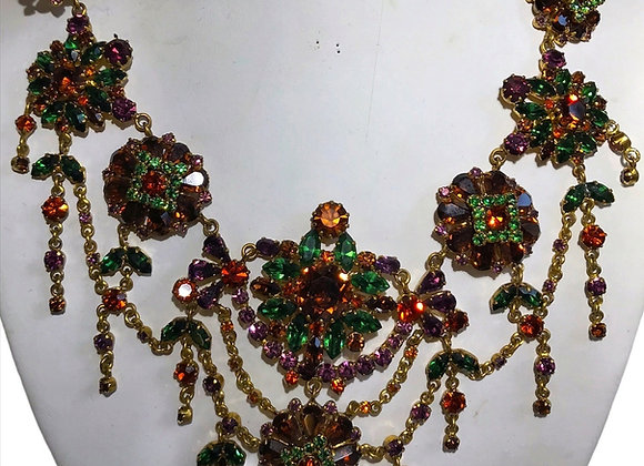 Austrian Brown & Green Crystal Necklace