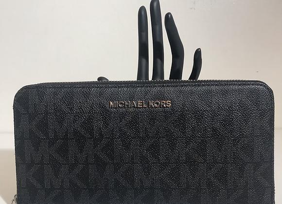 MK black textured logo wallet