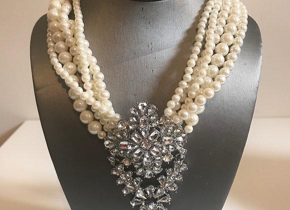 Art Deco Style Pearl Crystal Choker