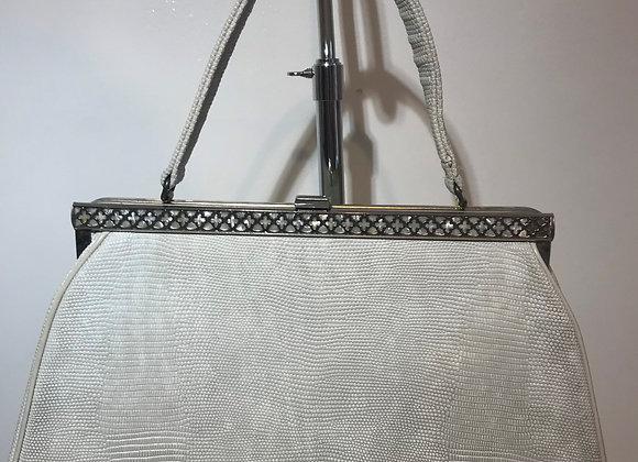 JR Florida White Textured Handbag