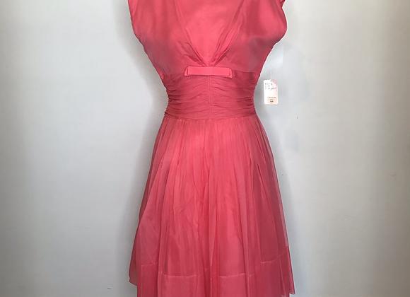 1950s peach chiffon dress