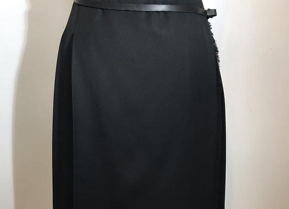 Designer black kilt skirt