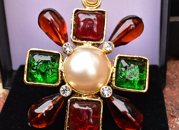 Chanel Red & Green Gripoix Pin