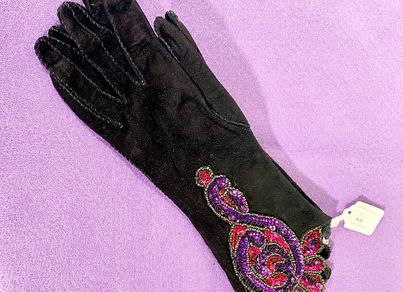 Purple & Black Beaded Gloves
