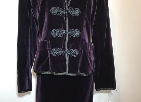 Designer purple velvet 2pc suit