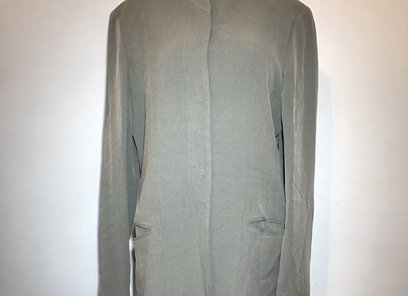 Emanuel Ungaro beige knitted fully lined front pockets long jacket.