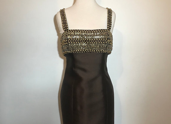 Jovani brown silk beaded dress